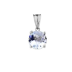 10K White  Gold March  Birthstone  Aquamarine (LCAQ) Pendant Necklace