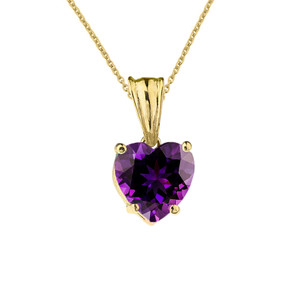 10K Yellow Gold Heart February Birthstone Amethyst (LCAM) Pendant Necklace & Earring Set