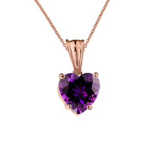 10K Rose Gold Heart February Birthstone Amethyst (LCAM) Pendant Necklace