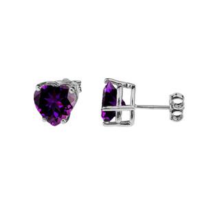 10K White Gold Heart February Birthstone Amethyst (LCAM) Pendant Necklace & Earring Set