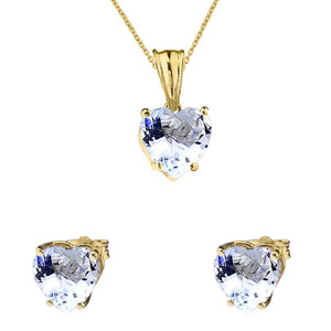 10K Yellow Gold Heart March Birthstone Aquamarine (LCAQ) Pendant Necklace & Earring Set