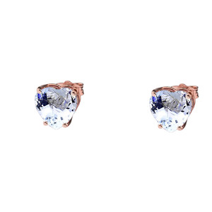 10K Rose Gold Heart March Birthstone Aquamarine (LCAQ) Earrings