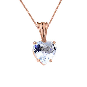 10K Rose Gold Heart March Birthstone Aquamarine (LCAQ) Pendant Necklace