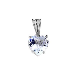 10K White Gold Heart March Birthstone Aquamarine (LCAQ) Pendant Necklace