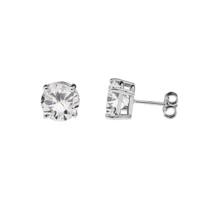 10K White Gold  April Birthstone Cubic Zirconia  (CZ) Earrings
