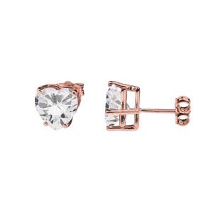 10K Rose Gold Heart April Birthstone Cubic Zirconia (C.Z) Earrings
