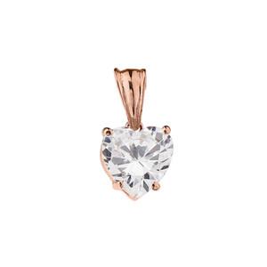 10K Rose  Gold Heart April Birthstone Cubic Zirconia (C.Z) Pendant Necklace