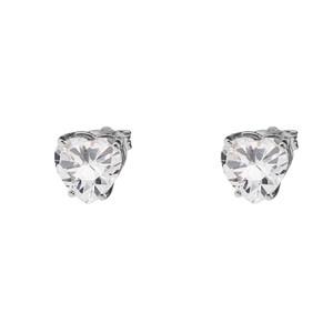 10K White Gold Heart April Birthstone Cubic Zirconia (C.Z) Earrings