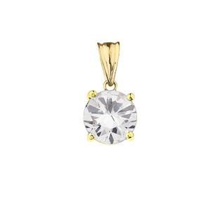 10K Yellow Gold April  Birthstone Cubic Zirconia (CZ) Pendant Necklace