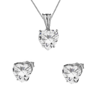 10K White Gold Heart April Birthstone Cubic Zirconia (C.Z) Pendant Necklace & Earring Set