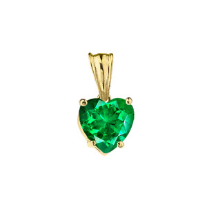 10K Yellow Gold Heart May Birthstone Emerald  (LCE) Pendant Necklace