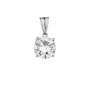 10K White Gold April  Birthstone Cubic Zirconia (CZ) Pendant Necklace