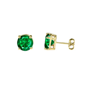 10K Yellow Gold May Birthstone Emerald (LCE) Pendant Necklace & Earring Set