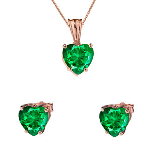 10K Rose Gold Heart May Birthstone Emerald  (LCE) Pendant Necklace & Earring Set