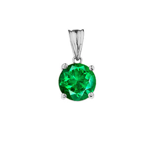 10K White Gold May Birthstone Emerald (LCE)  Pendant Necklace