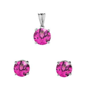 10K White  Gold June Birthstone Alexandrite (LCAL) Pendant Necklace & Earring Set