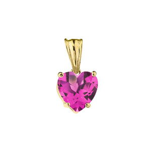 10K Yellow Gold Heart June Birthstone Alexandrite (LCAL) Pendant Necklace