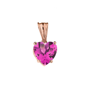 10K Rose Gold Heart June Birthstone Alexandrite (LCAL) Pendant Necklace