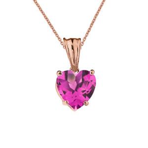 10K Rose Gold Heart June Birthstone Alexandrite (LCAL) Pendant Necklace