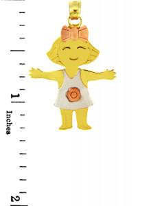 Tri Tone Gold Flower Girl Charm