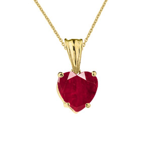10K Yellow Gold Heart July Birthstone Ruby (LCR) Pendant Necklace & Earring Set