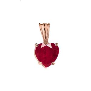 10K Rose Gold Heart July Birthstone Ruby (LCR) Pendant Necklace