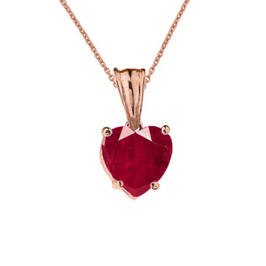 10K Rose Gold Heart July Birthstone Ruby (LCR) Pendant Necklace & Earring Set