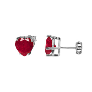10K White Gold Heart July Birthstone Ruby (LCR) Earrings