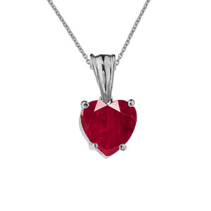 10K White Gold Heart July Birthstone Ruby (LCR) Pendant Necklace & Earring Set