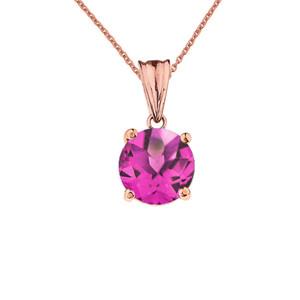 10K Rose Gold June Birthstone Alexandrite (LCAL)  Pendant Necklace