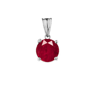 10K White Gold July Birthstone Ruby (LCR)  Pendant Necklace