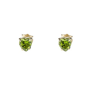 10K Yellow Gold Heart August Birthstone Peridot (LCP) Earrings