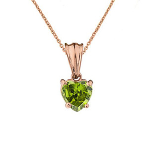 10K Rose Gold Heart  August Birthstone Peridot (LCP) Pendant Necklace