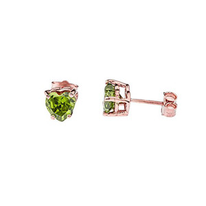 10K Rose Gold Heart  August Birthstone Peridot (LCP) Pendant Necklace & Earring Set
