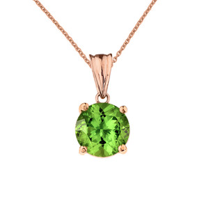 10K Rose Gold  August Birthstone Peridot (LCP)  Pendant Necklace