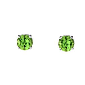 10K White Gold  August Birthstone Peridot (LCP)Earrings