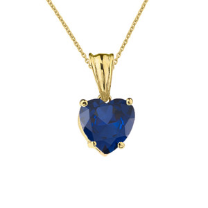 10K Yellow Gold Heart  September Birthstone Sapphire (LCS) Pendant Necklace