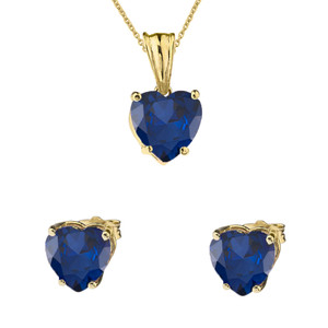 10K Yellow Gold Heart  September Birthstone Sapphire (LCS) Pendant Necklace & Earring Set