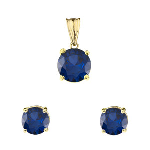10K Yellow Gold  September Birthstone Sapphire (LCS) Pendant Necklace & Earring Set
