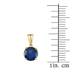 10K Yellow Gold  September Birthstone Sapphire (LCS)  Pendant Necklace