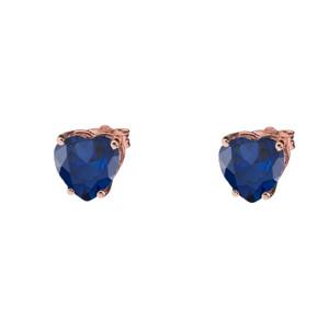 10K Rose Gold Heart September Birthstone Sapphire (LCS) Earrings