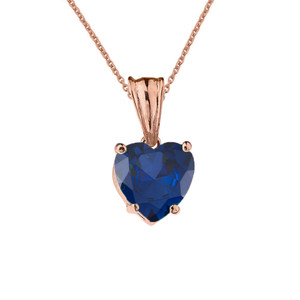 10K Rose Gold Heart  September Birthstone Sapphire (LCS) Pendant Necklace & Earring Set