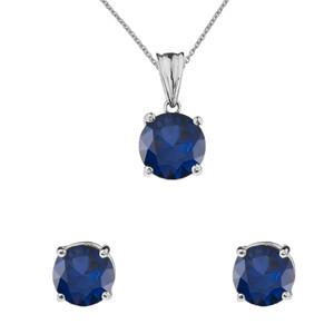 10K White Gold  September Birthstone Sapphire (LCS) Pendant Necklace & Earring Set