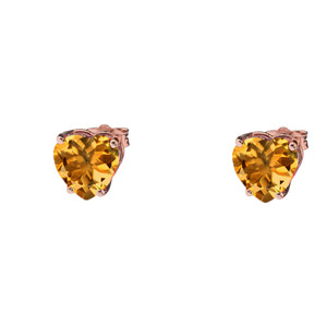 10K Rose Gold Heart November Birthstone Citrine (LCC) Earrings