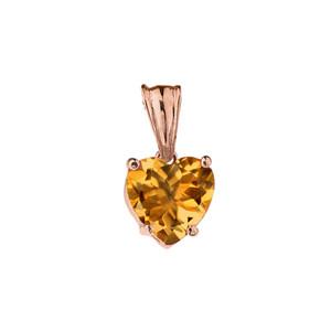 10K Rose Gold Heart November Birthstone Citrine (LCC) Pendant Necklace
