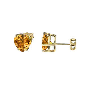 10K Yellow Gold Heart November Birthstone Citrine(LCC) Pendant Necklace & Earring Set
