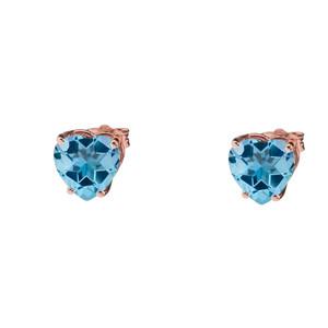 10K Rose Gold Heart December Birthstone Blue Topaz (LCBT) Earrings