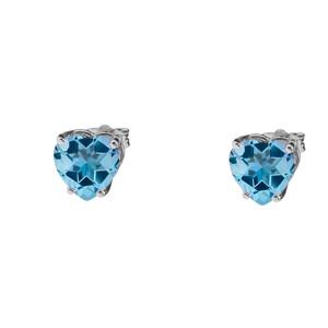 10K White Gold Heart December Birthstone Blue Topaz (LCBT) Earrings
