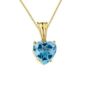 10K Yellow Gold Heart December Birthstone Blue Topaz (LCBT) Pendant Necklace & Earring Set