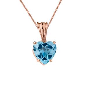 10K Rose Gold Heart December Birthstone Blue Topaz (LCBT) Pendant Necklace & Earring Set